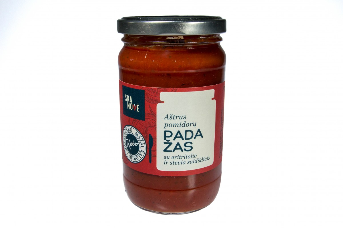 Aštrus pomidorų padažas su eritritolo ir stevia saldikliais
