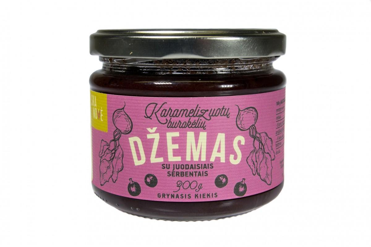Karamelizuotų burokėlių džemas su juodaisiais serbentais