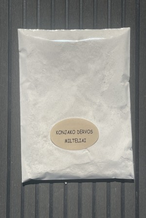 Konjako dervos milteliai  Naudojami kaip tirštiklis kepiniams, gėrimams (vietoj krakmolo).  1 g konjako dervos miltelių atitinka15 g krakmolo.