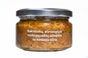 Baklažanų, alyvuogių ir moliūgų sėklų užtepėlė su kietuoju sūriu, 190g
